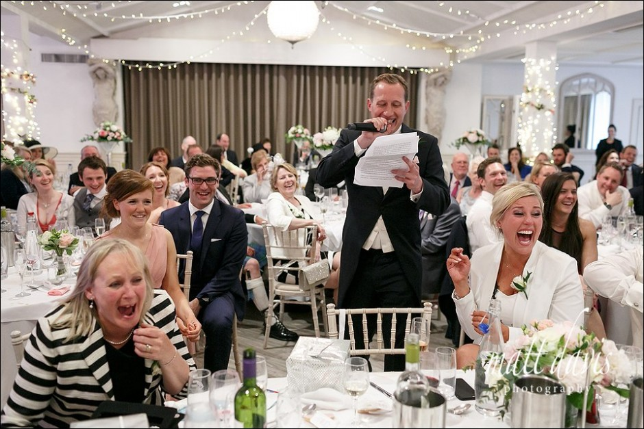 Documentary Wedding photography of best mans speech at Manor By The Lake